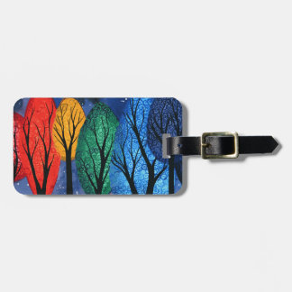 Night colour - rainbow swirly trees starry sky luggage tag
