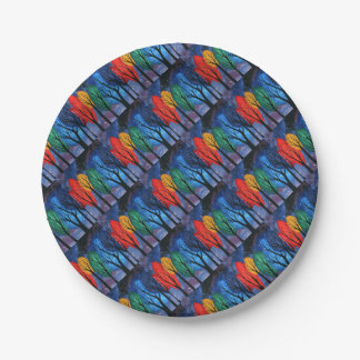 Night colour - rainbow swirly trees starry sky paper plate