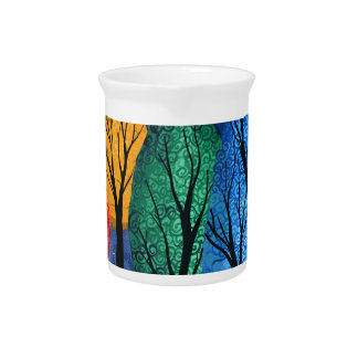 Night colour - rainbow swirly trees starry sky pitcher