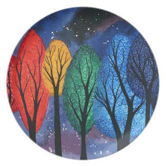 Night colour - rainbow swirly trees starry sky plate