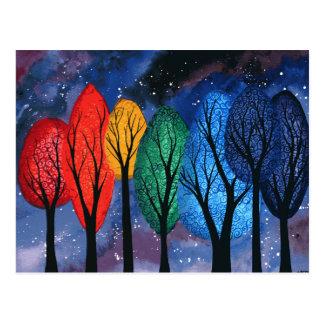 Night colour - rainbow swirly trees starry sky postcard