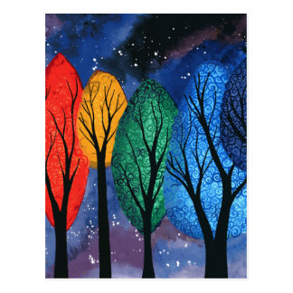 Night colour - rainbow swirly trees starry sky postcard