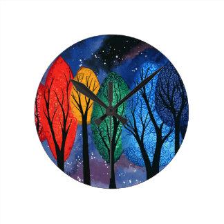 Night colour - rainbow swirly trees starry sky round clock