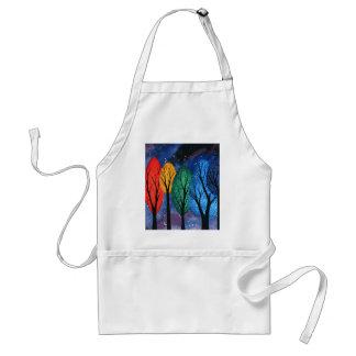 Night colour - rainbow swirly trees starry sky standard apron