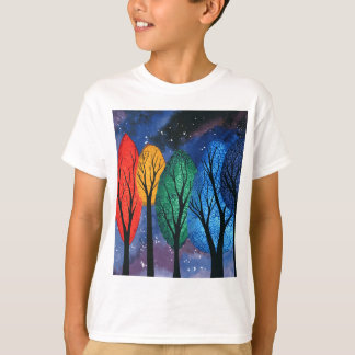 Night colour - rainbow swirly trees starry sky T-Shirt