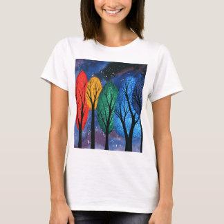 Night colour - rainbow swirly trees starry sky T-Shirt
