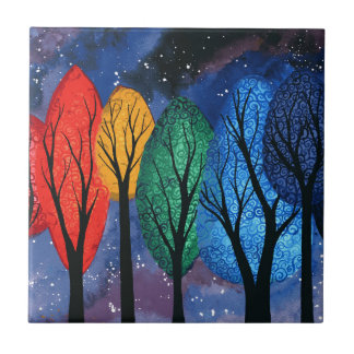 Night colour - rainbow swirly trees starry sky tile