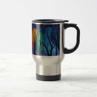 Night colour - rainbow swirly trees starry sky travel mug