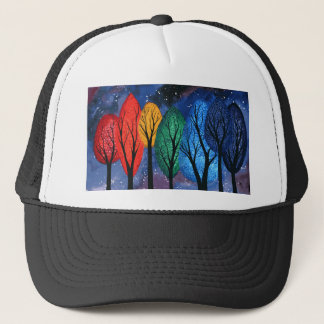 Night colour - rainbow swirly trees starry sky trucker hat