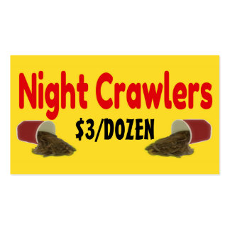 Night Crawlers For Sale Ad Pack Of Standard Business Cards