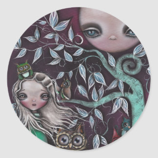 Night Creatures Owls Round Stickers