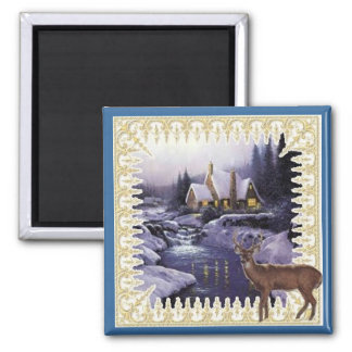 Night Deer Square Magnet