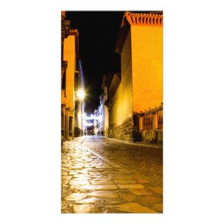 Night empty street personalized photo card