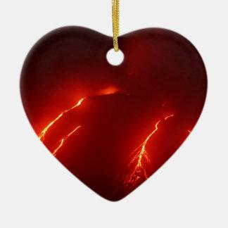 Night erupt volcano Klyuchevskaya Sopka Ceramic Heart Decoration