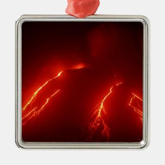 Night erupt volcano Klyuchevskaya Sopka Silver-Colored Square Decoration