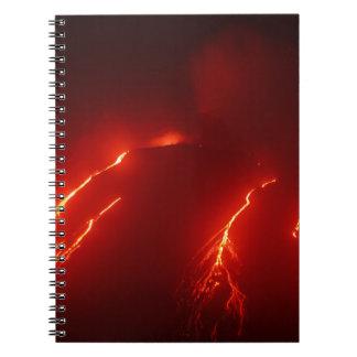 Night erupt volcano Klyuchevskaya Sopka Spiral Notebooks