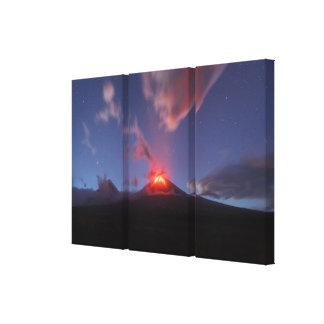 Night eruption Klyuchevskaya Sopka in Kamchatka Canvas Print