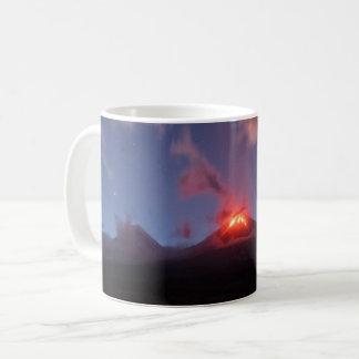 Night eruption Klyuchevskaya Sopka in Kamchatka Coffee Mug