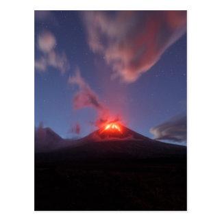 Night eruption Klyuchevskaya Sopka in Kamchatka Postcard