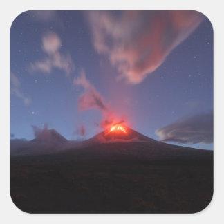 Night eruption Klyuchevskaya Sopka in Kamchatka Square Sticker