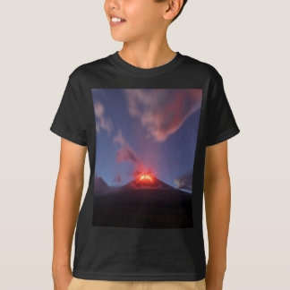 Night eruption Klyuchevskaya Sopka in Kamchatka T-Shirt