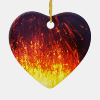 Night eruption volcano: fireworks lava in crater ceramic heart decoration