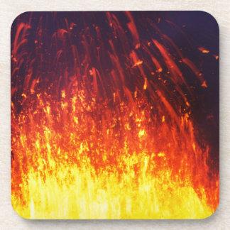 Night eruption volcano: fireworks lava in crater coaster