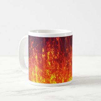 Night eruption volcano: fireworks lava in crater coffee mug