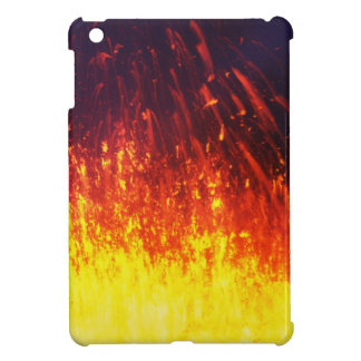 Night eruption volcano: fireworks lava in crater cover for the iPad mini