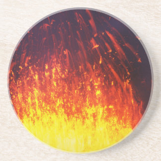 Night eruption volcano: fireworks lava in crater drink coasters