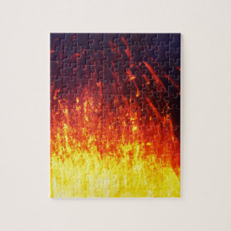 Night eruption volcano: fireworks lava in crater jigsaw puzzle