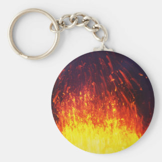 Night eruption volcano: fireworks lava in crater key ring