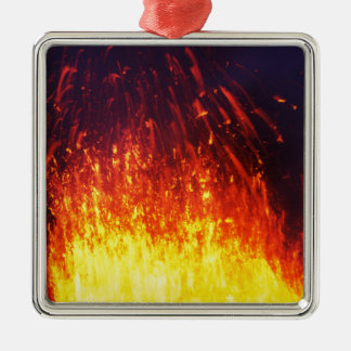 Night eruption volcano: fireworks lava in crater Silver-Colored square decoration