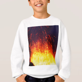 Night eruption volcano: fireworks lava in crater sweatshirt