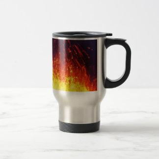 Night eruption volcano: fireworks lava in crater travel mug