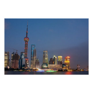 Night falls on Shanghai China Poster