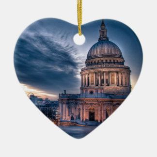 Night falls over St. Paul's Cathedral, London Ceramic Ornament