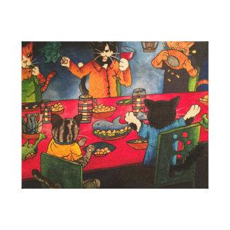 Night Feast Cats Canvas Print