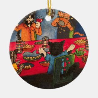 Night Feast Cats Ceramic Ornament