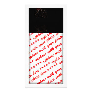 Night Fireworks - Red & White Customized Photo Card