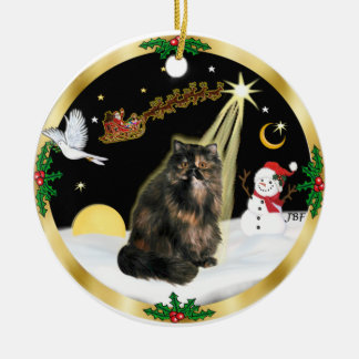 Night Flight (GW) - Tortie Persian cat Ceramic Ornament