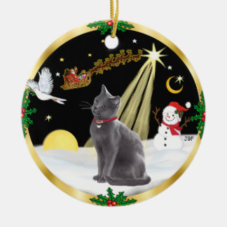 Night Flight - Russian Blue cat Round Ceramic Decoration