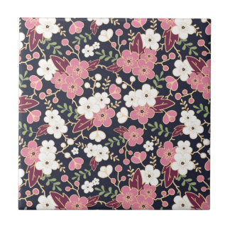 Night Garden Flowers Pattern Small Square Tile