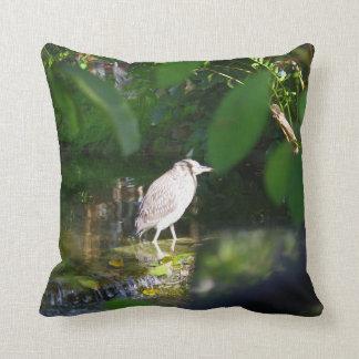 """Night Heron Bird, Throw Pillow 16"""" x 16"""""""