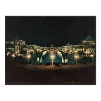 Night illumination Grand Court classic Photochrom Postcard