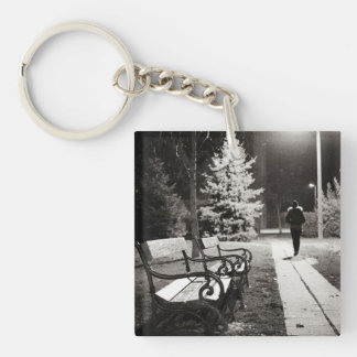 Night in the city Double-Sided square acrylic key ring