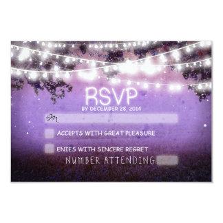 night lanterns purple wedding rsvp 9 cm x 13 cm invitation card