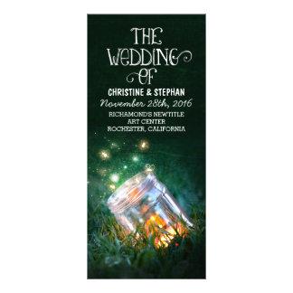 night lights fireflies mason jar wedding program rack card