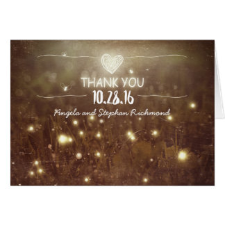 night lights fireflies whimsical wedding thank you note card