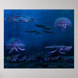 Night Lights Jellyfish Aquarium Poster